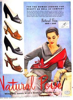 Natural Poise Shoes, September 1953. #vintage #shoes #fashion #1950s