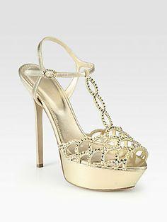 Sergio Rossi Vague Nappa Silk Swarovski Crystal-Coated T-Strap Sandals, loving the platform!