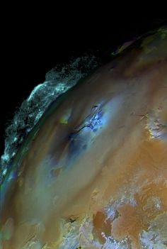 Io's interior is composed of molten iron sulphide, and the surface is a crust of sulfur and silicon. Io has more than 400 active volcanoes, which can eject lava plumes more than 500 kilometers above the surface.
