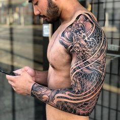Incredibly detailed japanese sleeve otziapp com japanese inspiration inkstinct Phoenix Tattoo Sleeve, Samurai Tattoo Sleeve, Dragon Sleeve Tattoos, Japanese Sleeve Tattoos, Best Sleeve Tattoos, Tattoo Sleeve Designs, Tattoo Designs Men, Asian Tattoo Sleeve, Tattoo Japanese