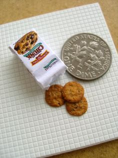 Miniature Chocolate Chip Cookies - 1/12 scale dollhouse food.