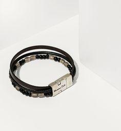 Cultures Hommes: Massimo Dutti bracelet perle noire