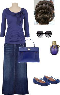 """Feeling Blue"" by lovemykidz ❤ liked on Polyvore...love long demin skirts"