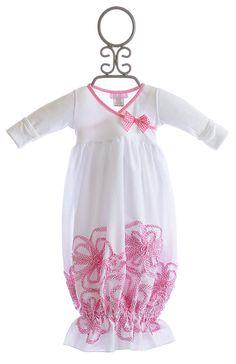Embellishment at hBebemonde White Newborn Take Home Gown Pink Flowers