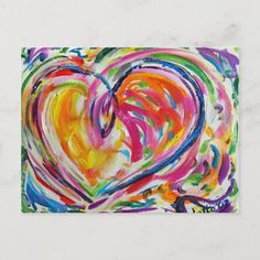 Heart Painting, Finger Painting, Diy Canvas Art, Canvas Art Prints, Painting Canvas, Joy Art, Rainbow Art, Rainbow Colors, Drawing Tutorials