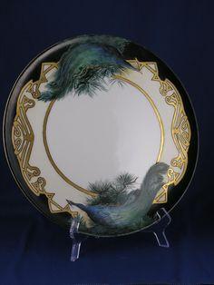 Tressemann & Vogt (T&V) Limoges Peacock Motif Plate/Tray (c.1892-1920)