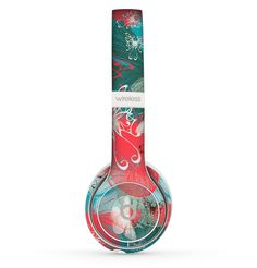 The Blue & Coral Abstract Butterfly Sprout Skin Set for the Beats by Dre Solo 2 Wireless Headphones