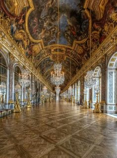 Hall of Mirrors, Versailles Palace overlooks the beautifully maintained grounds.  The Treaty of Versailles was signed here.  (More useless trivia in my head!)