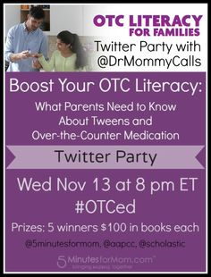 Twitter Party - Nov 13 at 8pm ET -  What Parents Need to Know About Tweens and Over-the-Counter Medication