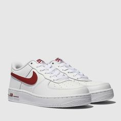 premium selection fd039 5edff nike white   red air force 1-3 trainers youth Air Force 1, Nike