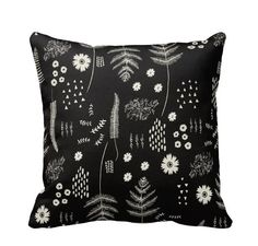 Botanical Floral Zippered Throw Pillow by PrimalVogueHomeDecor