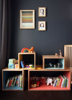 I really love dark walls as a backdrop to kids colorful toys! Hack of plywood boxes coated in (safe) paint clear polyurethane makes for most excellent kids' room storage! Casa Kids, Plywood Boxes, Wooden Boxes, Deco Kids, Dark Walls, Grey Walls, Kid Spaces, Kids Decor, Kids Bedroom