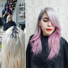 #transformation #colorhair #silver #lilac #pink #hair #rockstar #hairstyle #makeup #by #nataliahairsalon