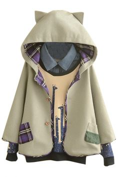 Hooded Button Down Tweed Plaid Lining Cute Patchwork Cape - Beautifulhalo.com