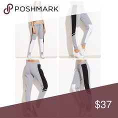 Grey color block drawstring casual pant. NEW! Brand new. Size med. model is wearing a med and is 5'9 Pants Track Pants & Joggers