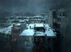 "Jeremy Mann - ""Rooftops in the Snow"" Oil on Panel 18 x 24 inches. 2014"