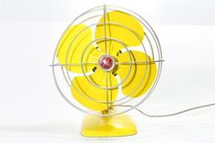 Refurbished Retro Vintage Yellow GE Electric Fan by FishboneDeco, $72.00