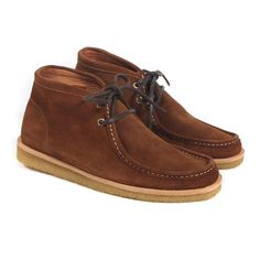 Veras Veras Elvissa Roble Shoes: Wallabee-esque, mid height shoesin Brown Suede; featuring contrast stitching, crepe sole, leather laces and brass eyelets. Slightly on the large side - we recommend sizing down.