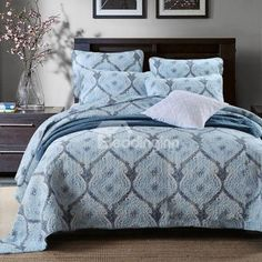 Elegant Blue 3-Piece Cotton Bed in a Bag