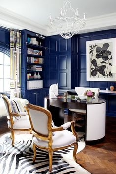Eclectic Home Office with Arched window, Exquisite Surfaces Herring Bone Antique French Oak, Chandelier, Standard height