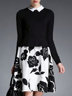 Black Lapel Flowers Jacquard A-Line Dress