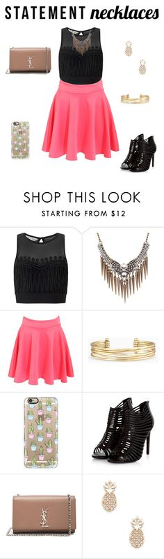 """Sharp and Snazzy🖕🏻"" by jackiecox1 ❤ liked on Polyvore featuring Miss Selfridge, Pilot, Stella & Dot, Casetify, Yves Saint Laurent, Sole Society and statementnecklaces"