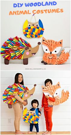 DIY Woodland Animal Costumes For Kids Find out how to make these cute DIY Woodland Animal Halloween costumes for kids. Cardboard and paper are mainly all you need to make this handmade fox costume, rainbow hedgehog costume and owl costume! Animal Costumes For Kids, Animal Halloween Costumes, Halloween Kostüm, Shark Costumes, Fox Costume, Handmade Halloween Costumes, Easy Diy Costumes, Fidget Spinner Costume, Cardboard Costume