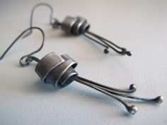 Flower dangle silver oxidized earrings made to order. $42.00, by ZizouArT  via Etsy.