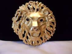 Doreen Ryan Brooch Roaring Lion Gold Plate Couture Vintage Fashion Pin   eBay