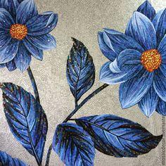 Мозаичное панно - цветы - синий, мозаика, мозаичное панно, мозаичный, декоративный, панно
