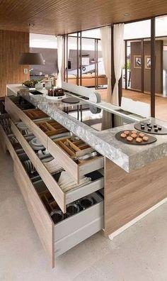 Luxury Kitchen Design, Dream Home Design, Luxury Kitchens, Modern House Design, Interior Design Kitchen, Home Kitchens, Small Kitchens, Luxury Bedroom Design, Interior Garden