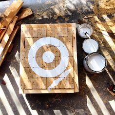 Wooden knife throwing target