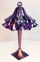 Fenton Glass - Hand Painted Carnival Glass Ruffled Shade Lamp in plum / eggplant colours. Fenton Lamps, Fenton Glassware, Vintage Glassware, Antique Lamps, Vintage Lamps, Lampe Art Deco, Purple Home, Purple Art, Deep Purple