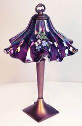 Fenton Hand Painted Carnival Glass Ruffled Shade Lamp