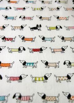 SALE Half Yard Colorful dog Japanese fabric White por karaku