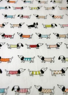 SALE Half Yard Colorful dog Japanese fabric White por karaku