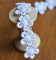 1 Meter 1cm White flower Scalloped Cotton Crochet Lace Trim