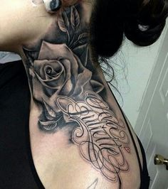 Flower Roses Tattoo And Lettering Tattoo With Black And Grey Tattoo Color At Neck For Girl Tattoo