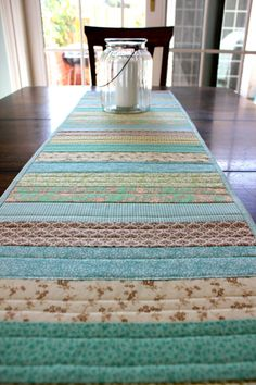 Table Runner Patchwork Quilt Spring Summer by StrawberryFieldQuilt