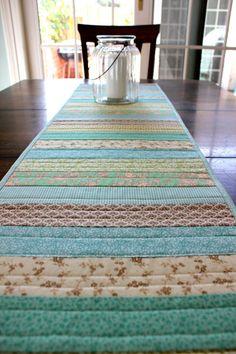 Table Runner Patchwork Quilt Spring Summer by StrawberryFieldQuilt
