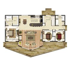 1428 sqft. Move Master suite to other end to cluster bedrooms, add workshop/garage where master is shown, and rotate kitchen 90deg and flip to open down with bar by dinning.