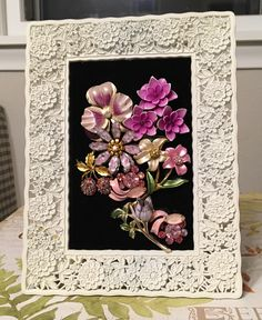 Vintage Jewelry Floral Art Collage Picture by RevivalVtgJewelsArt on Etsy