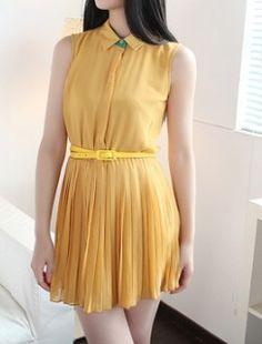 Yellow Sleeveless Pleated Belted Chiffon, cute and stylish!