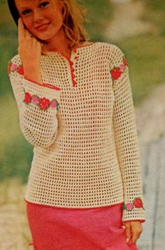 Retro Flowered Shirt Filet Crochet Pattern