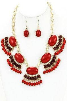 J Crew Inspired Red and Brown Fan Fringe Statement Necklace Set