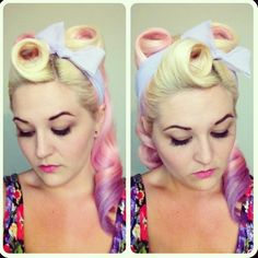 Pin curl, pinup, victory rolls, scarf, retro, rockabilly hair, pinup. Pink hair. Purple hair. Pastel hair.