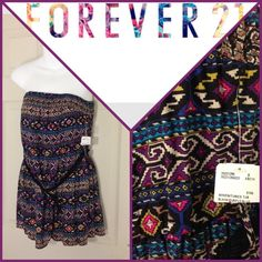 NWT Forever 21 Tube Top/Dress New with tag. Black, purple, blue.  Black braided belt.  Woven/tunics tub top.  100% rayon. Size medium. Forever 21 Tops