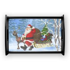 new at @CafePress : #Santa is coming Small #Serving #Tray Santa Claus and his #Reindeer go through the forest. A cute #christmas scene!  $40.19