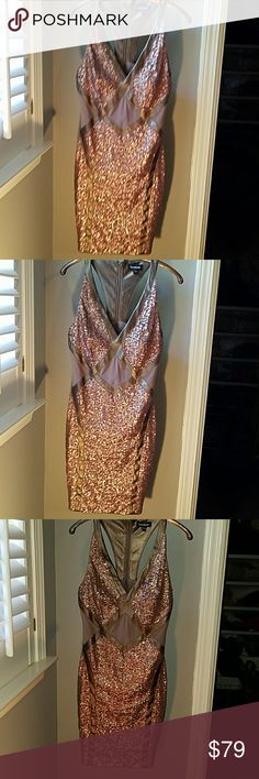 Bebe Small Bronze Sequined dress w mesh & leather Perfect for a formal occasion or special night out on the town! Beautiful bronze colored sleeveless mini dress. This dress is stunning! Fully sequined with diamond mesh insets at waist and shimmery faux leather detailing. Fully lined except mesh insets. Exposed back zipper is bronze as well. See separate listing for matching shoes. Will discount 20% if you buy both! bebe Dresses Mini