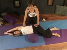Learn Restorative Yoga Poses : Side-Lying Stretch Restorative Yoga. LOOK AT SUPPORTED SWAN/pigeon too